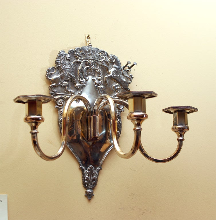 Antique Georgian Wall Sconces : Pair of Georgian style Sheffield silverplated wall sconces For Sale at 1stdibs