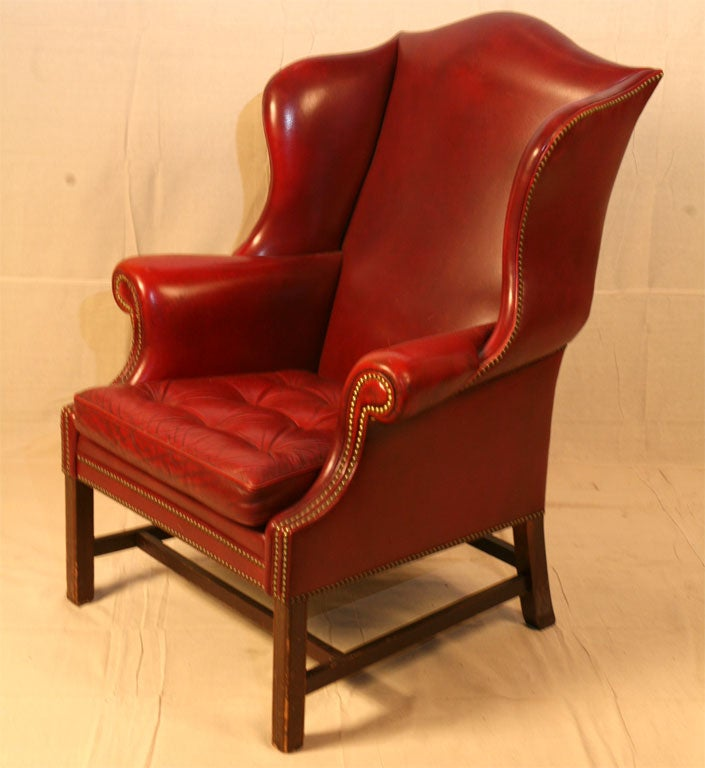 Red Leather Wingback Chair For Sale: Single Wing Back Red Leather Chair At 1stdibs