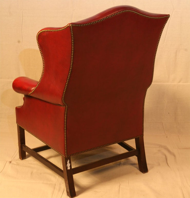 Single Wing Back Red Leather Chair At 1stdibs
