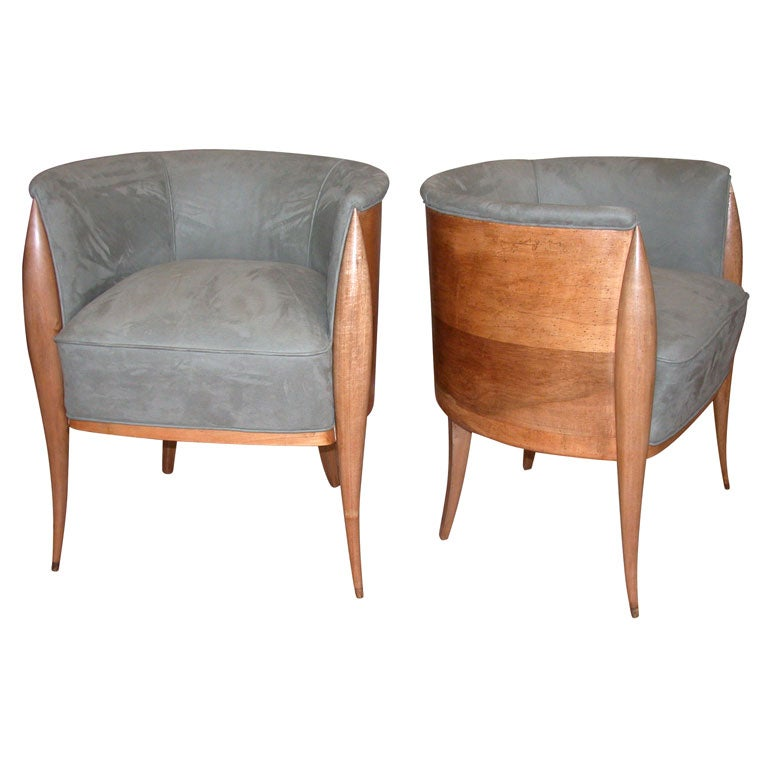 Pair Of Upholstered Wood Barrel Chairs At 1stdibs