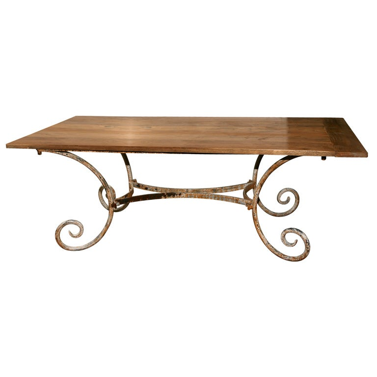 indoor or outdoor teak top metal base dining table at 1stdibs