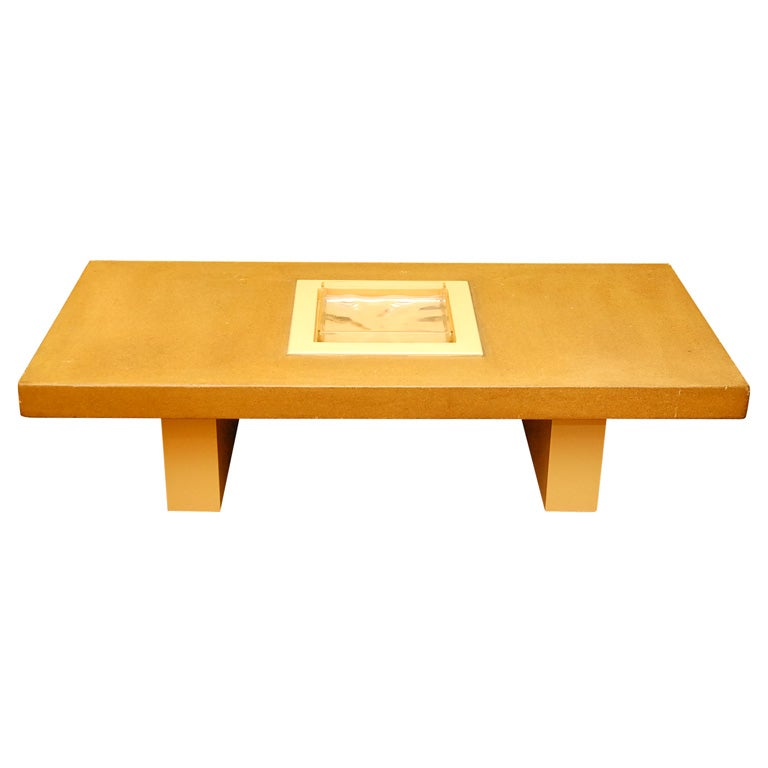 Rare Paul Laszlo Coffee Table With Cork And Glass Insert Lable At 1stdibs