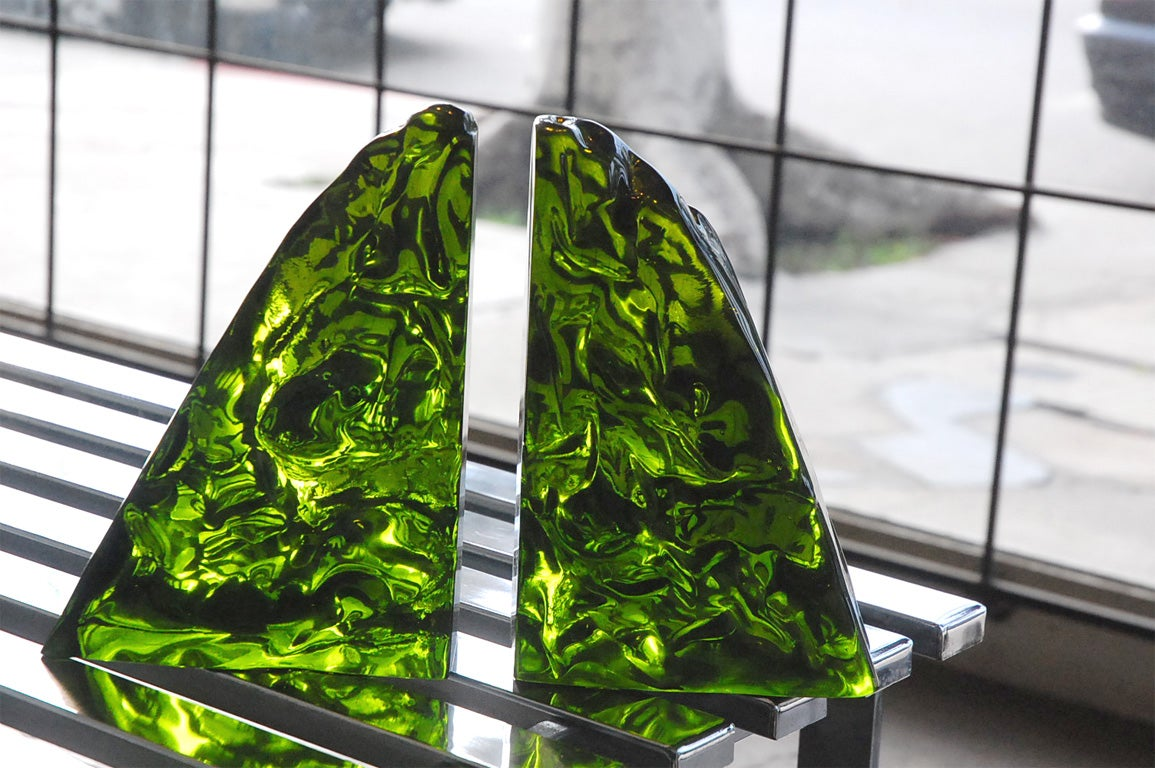 Luciano Gaspari green murano glass bookends by Saviati at 1stdibs