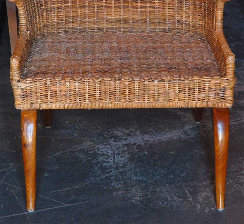 Wicker High Back Wing Chairs At 1stdibs