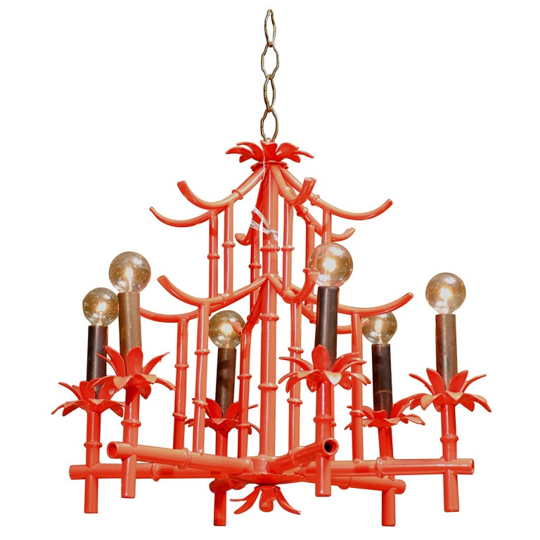Red Pagoda Chandelier at 1stdibs