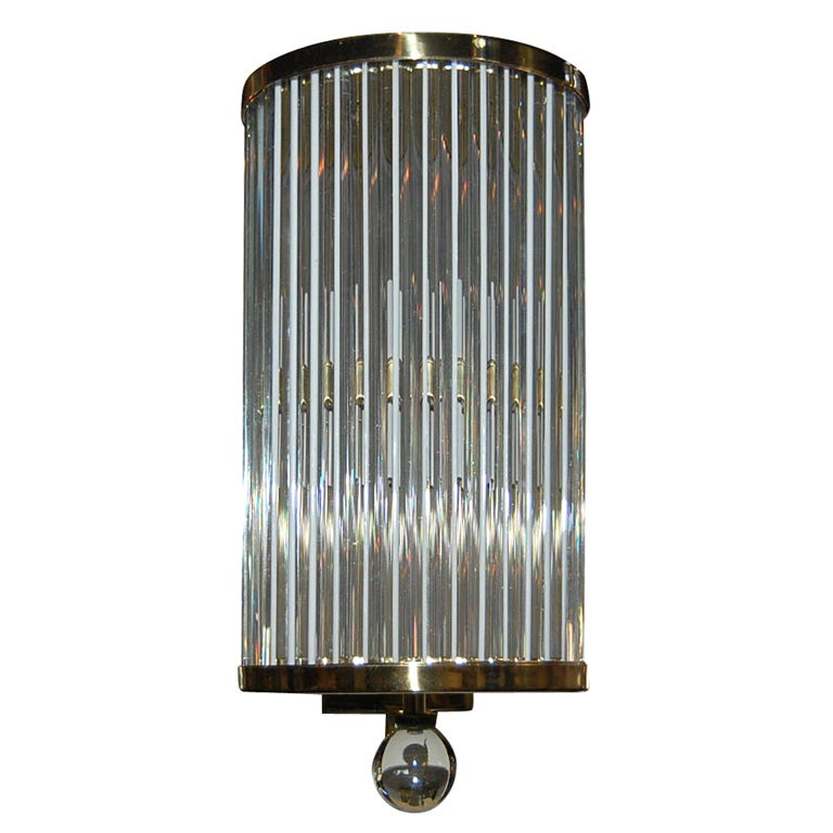 BRASS AND GLASS ROD WALL SCONCE at 1stdibs