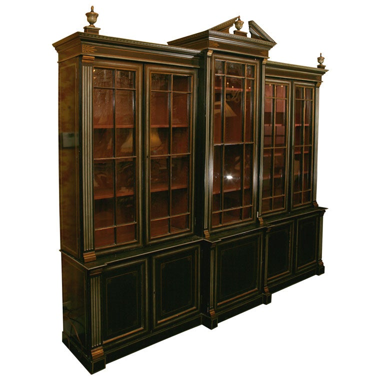 English Painted Neo Classical Style Breakfront Bookcase At 1stdibs