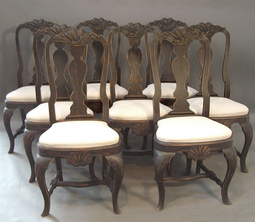 Set Of Eight Black Rococo Style Dining Chairs At 1stdibs