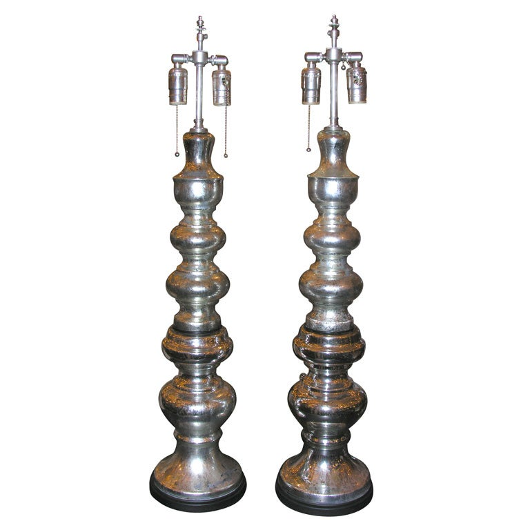 A Pair Of Mercury Glass Table Lamps At 1stdibs
