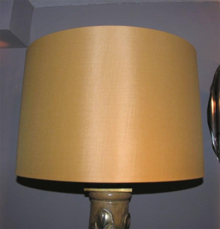 James Mont Table Lamps Pair Art Moderne Metal Leaf Wood 1940's For Sale 2
