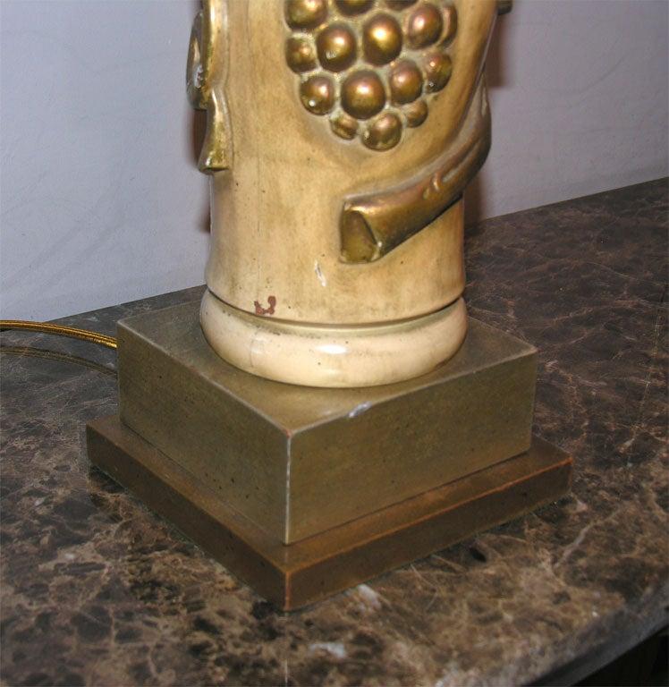 James Mont Table Lamps Pair Art Moderne Metal Leaf Wood 1940's For Sale 3