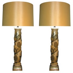 James Mont Table Lamps Pair Art Moderne Metal Leaf Wood 1940's