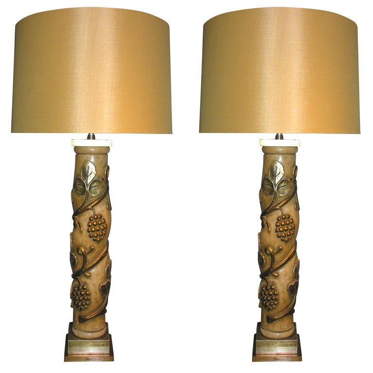 James Mont Table Lamps Pair Art Moderne Metal Leaf Wood 1940's For Sale