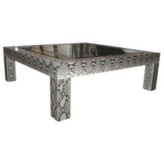 Python Cocktail Table with Inset Glass Top