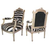 Pair of 19th Century Gold Gilt and Zebra Hide Chairs