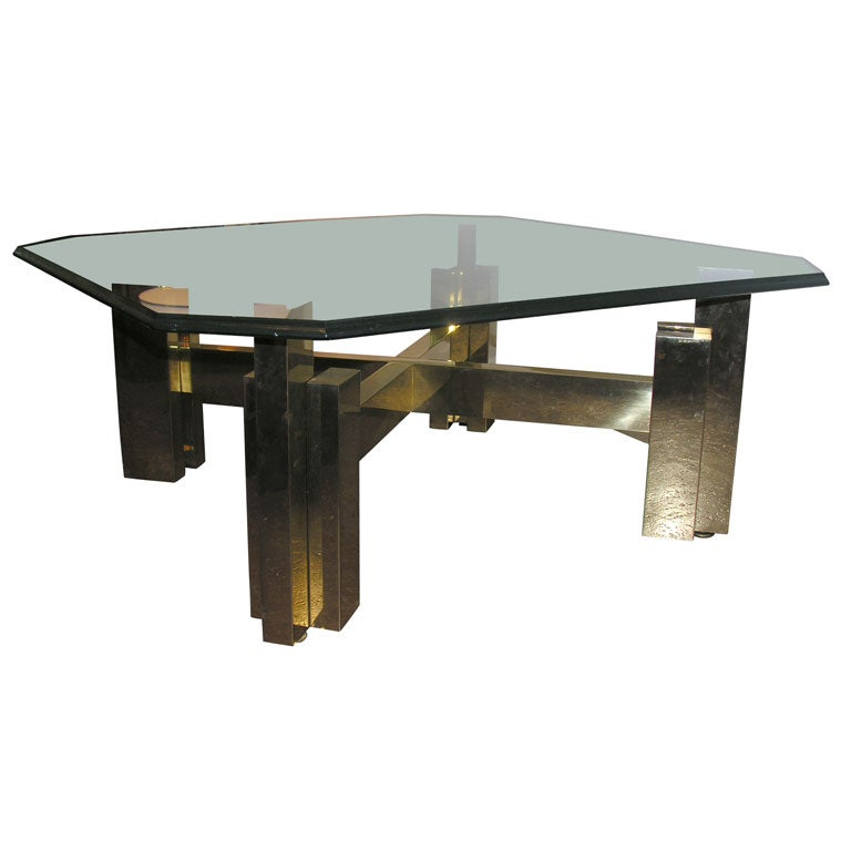 Brass Coffee Table With Original Glass At 1stdibs