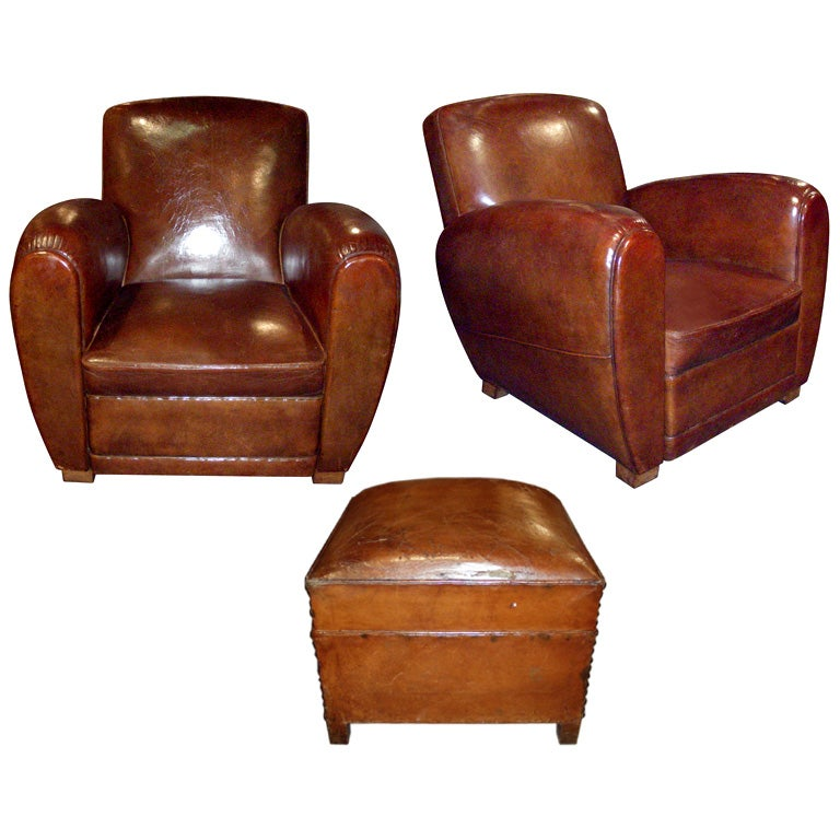 Two 1950s Club Armchairs And Foot Rest At 1stdibs