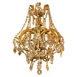 Antique French crystal and bronze 6-light chandelier.