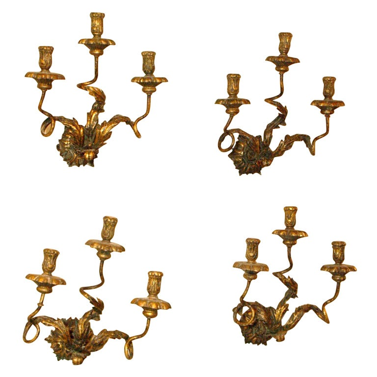 Antique French gilt iron sconces at 1stdibs