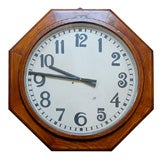 A German Solid Oak Case Clock with Hand Painted Face, Circa 1940