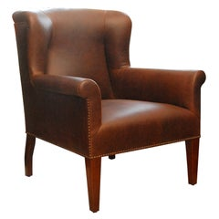 """""""Halstead"""" by Lee Stanton Wingback Chair Upholstered in Leather"""