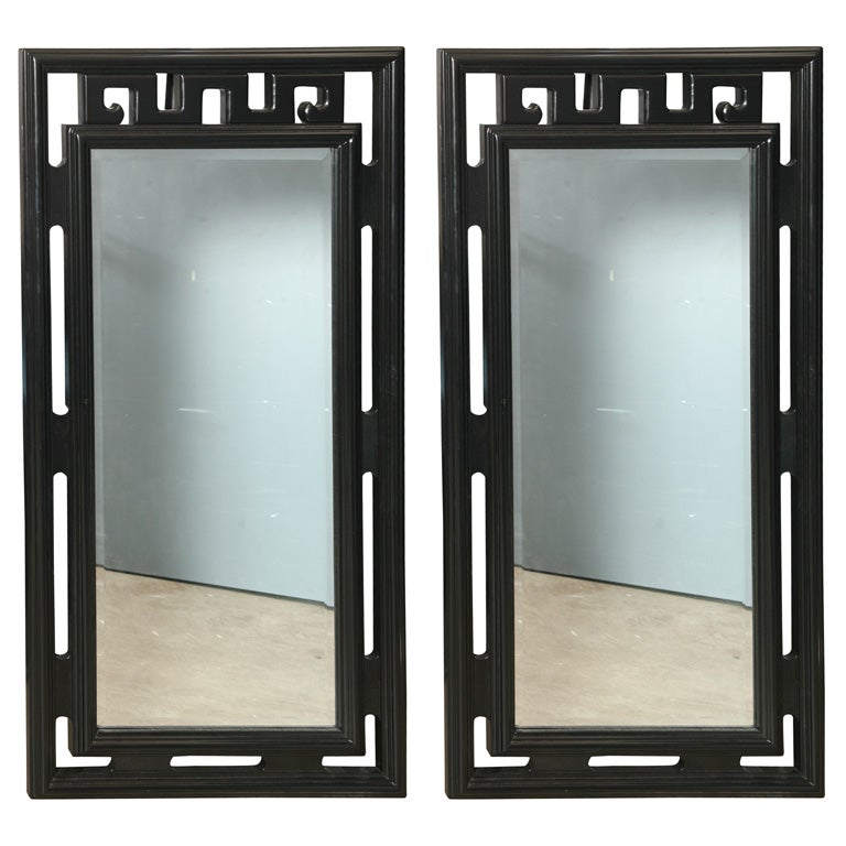 Pair of chinese style art deco mirrors at 1stdibs for Asian style mirror