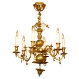 6 Light Dutch Brass Chandelier, c.1890