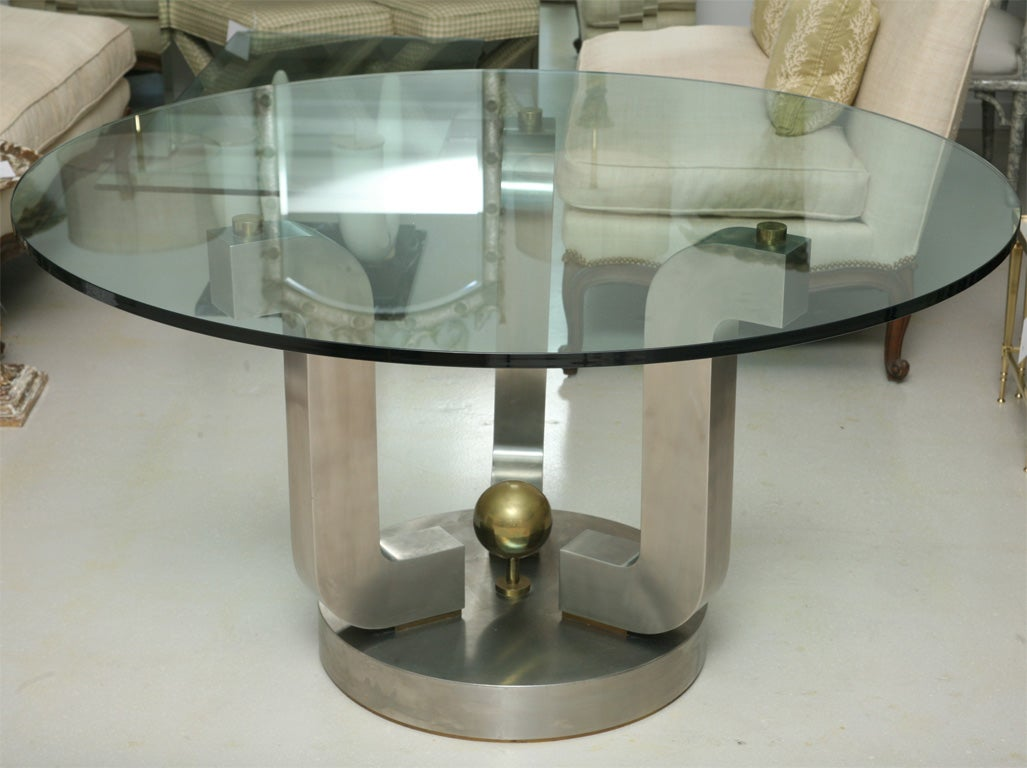 Stainless Steel And Brass Table With Glass Top At 1stdibs