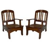 "Pair of Indian ""Bombay Deco"" Teak armchairs"