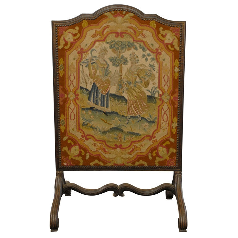 18th Century French Needlepoint Firescreen with Wood Frame