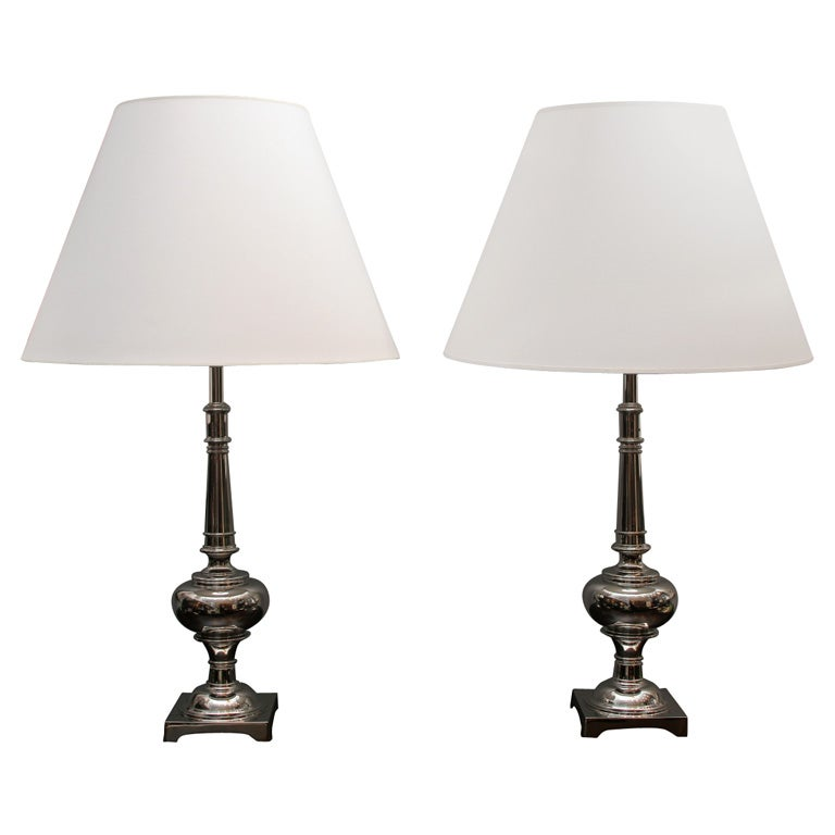 Pair Of Nickel Plated Brass Lamps By Stiffel At 1stdibs