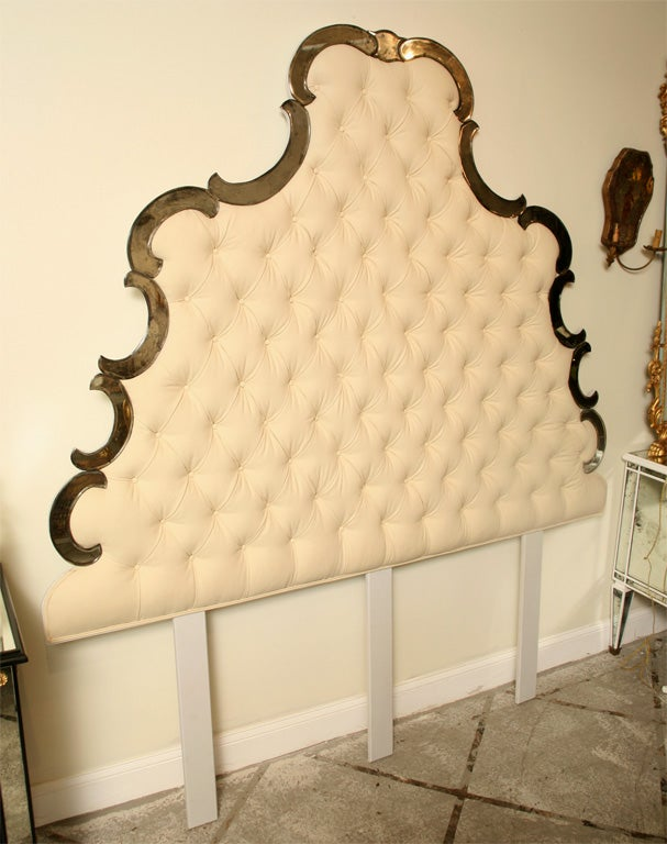 "Venetian Design venetian style bed mirrored and tufted"" king and queen size"" for"