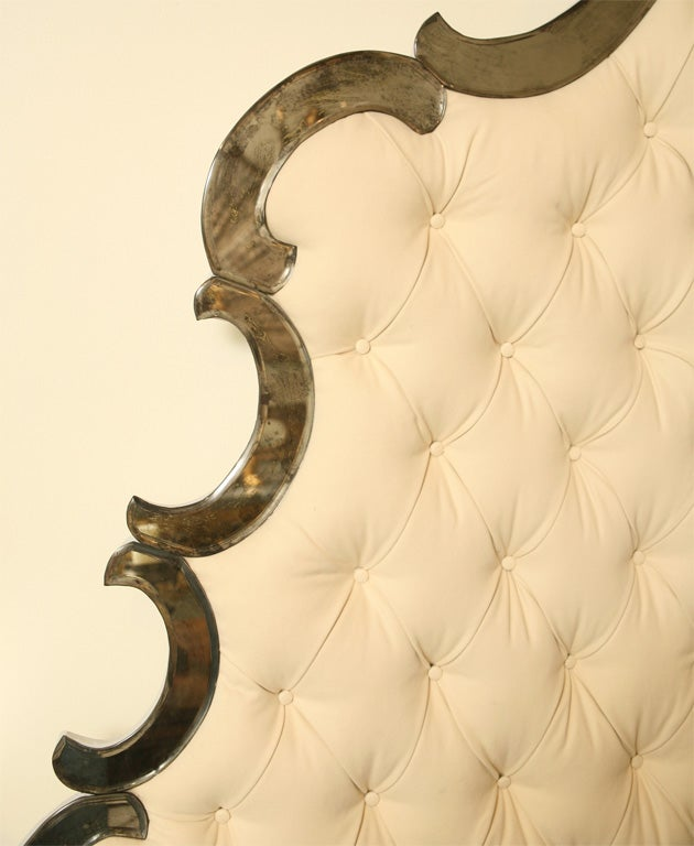 Venetian Style Bed  Mirrored & Tufted