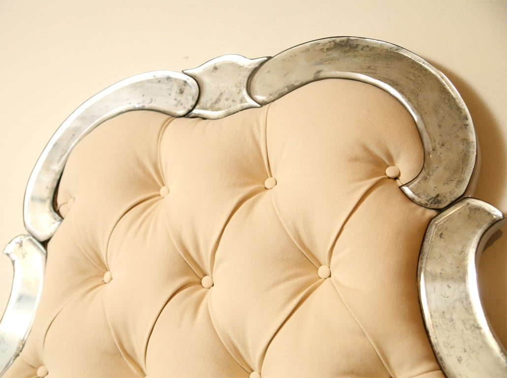 """Venetian Style Bed  Mirrored & Tufted"""" King  & Queen size"""" 6"""