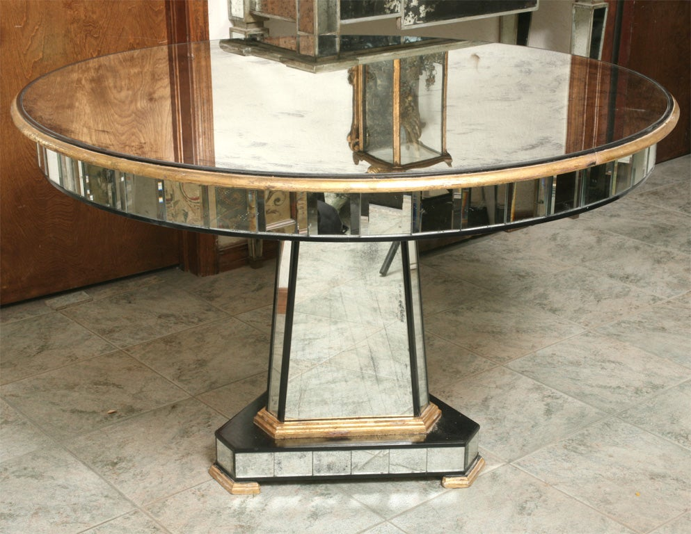 Mirrored centre table giltwood edge with black and white trim .Designed and manufactured exclusively by Coco House & Company.