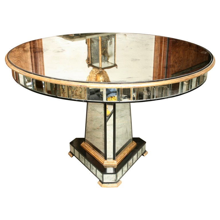 Superb Mirrored Centre Table Giltwood Edge with Black Trim For Sale