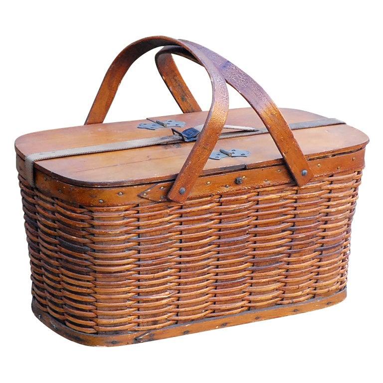 C 1940 Hawkeye Woven Refrigerator Picnic Basket At 1stdibs