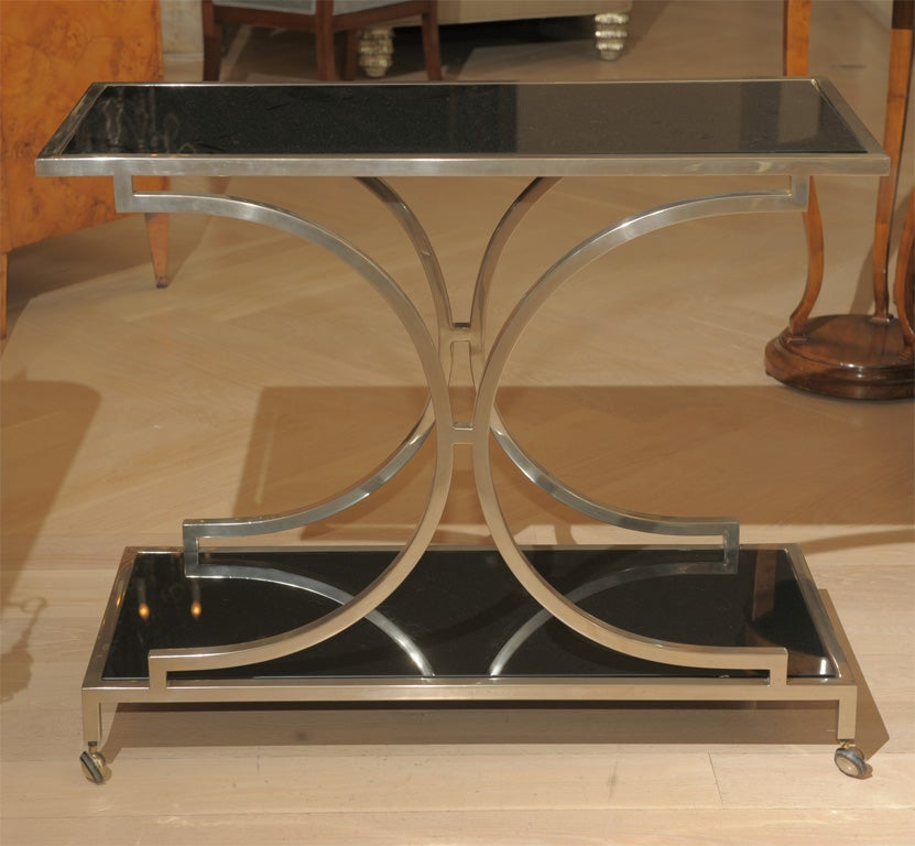 Mid century art moderne glass side table bar cart at 1stdibs for Mid century bistro table