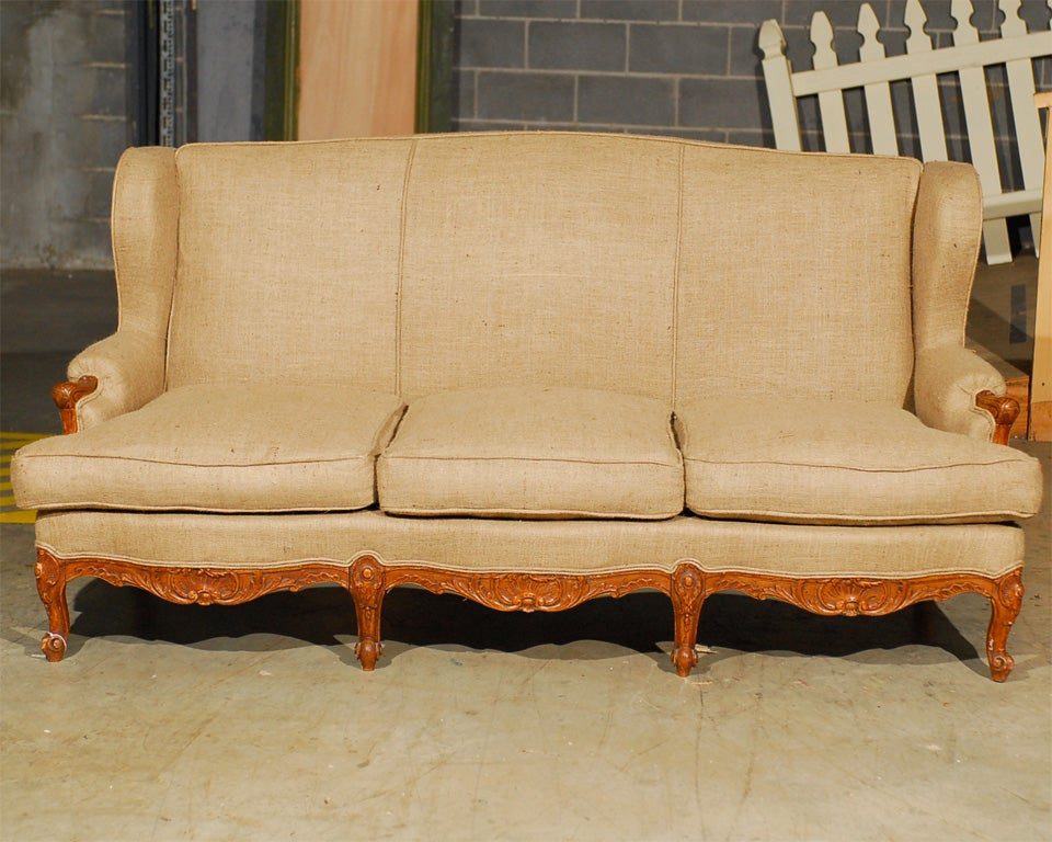 vintage wing back french provincial style sofa at 1stdibs On vintage french provincial sofa
