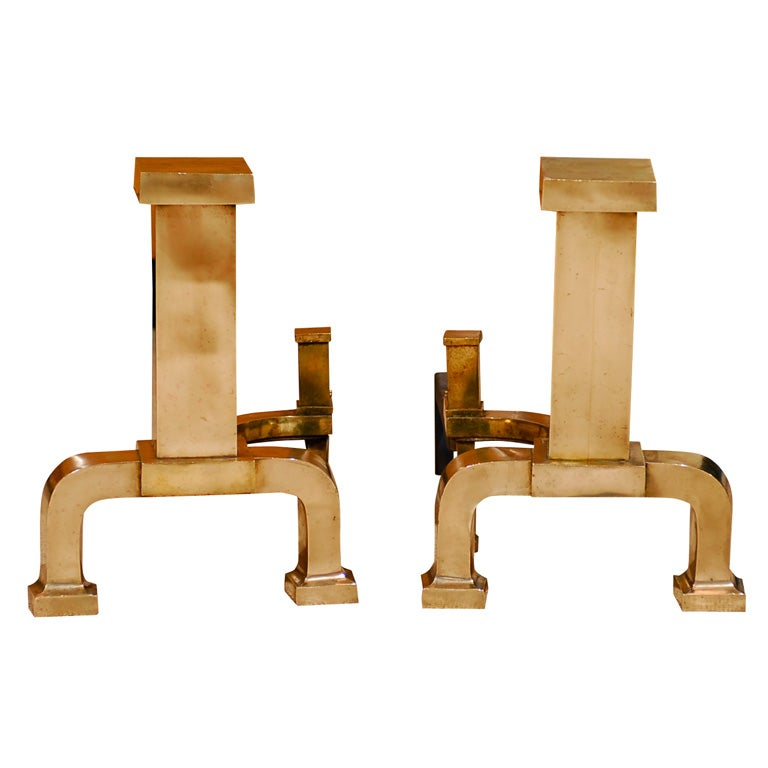 pair of 1930 s contemporary brass chenets at 1stdibs