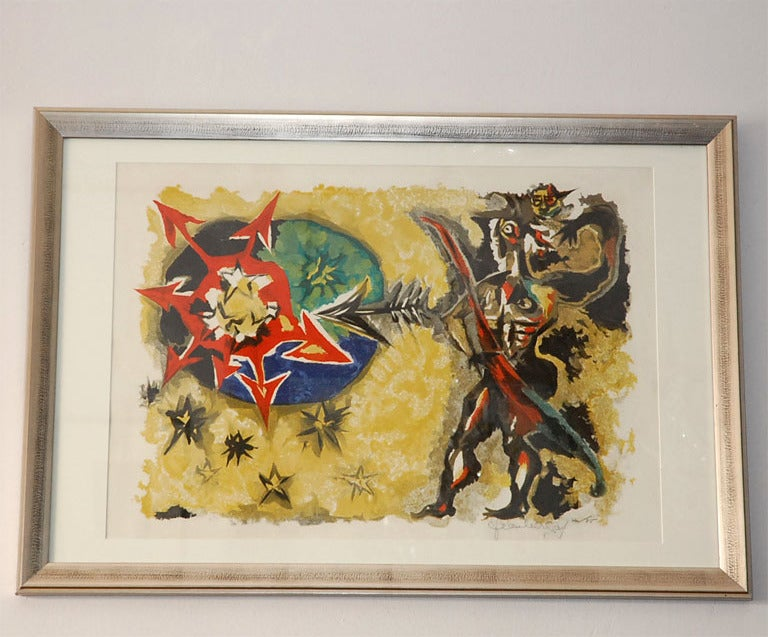 Original Jean Lurçat etching. Signed by the artist and numbered 44/85 in pencil.  Born July 1, 1892, Bruyères, Fr. Died Jan. 6, 1966, Saint-Paul-de-Vence, Fr.  French painter and designer who is frequently called the most instrumental figure