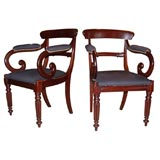 Pair of Early 19th Century William IV Mahogany Armchairs