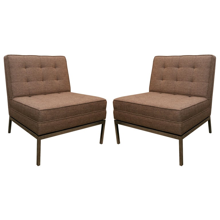 Pair Of Florence Knoll Armless Quilted Lounge Chairs 1