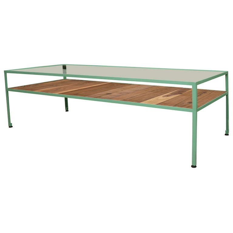 Angle Steel Coffee Table With Glass Top And Walnut Shelf For Sale At 1stdibs