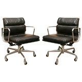 Charles Eames Black Leather and Chrome Soft Pad Desk Chairs
