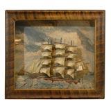 Nautical Diorama with Three-Masted Ship Model on Stormy Sea, circa 1890