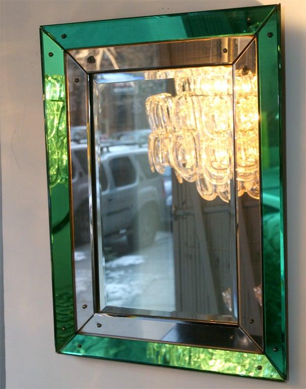 Art Deco Mirror with Emerald and Copper Mirrored Borders