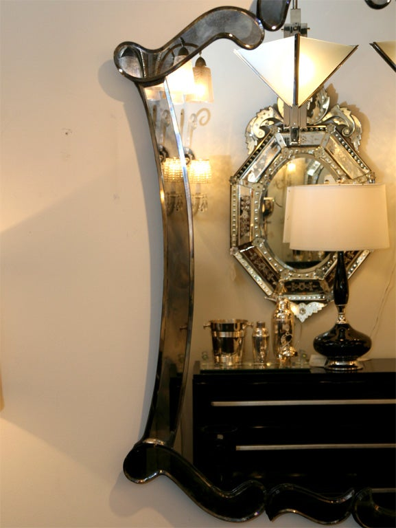 1940 S Venetian Style Mirror With Smoked Mirrored Borders