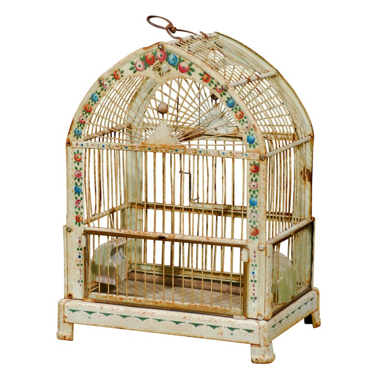 20th Century  French Tole Birdcage