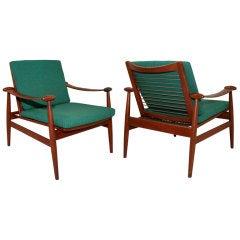 Pair of Sling Arm Lounge Chairs By Finn Juhl for France and Sons